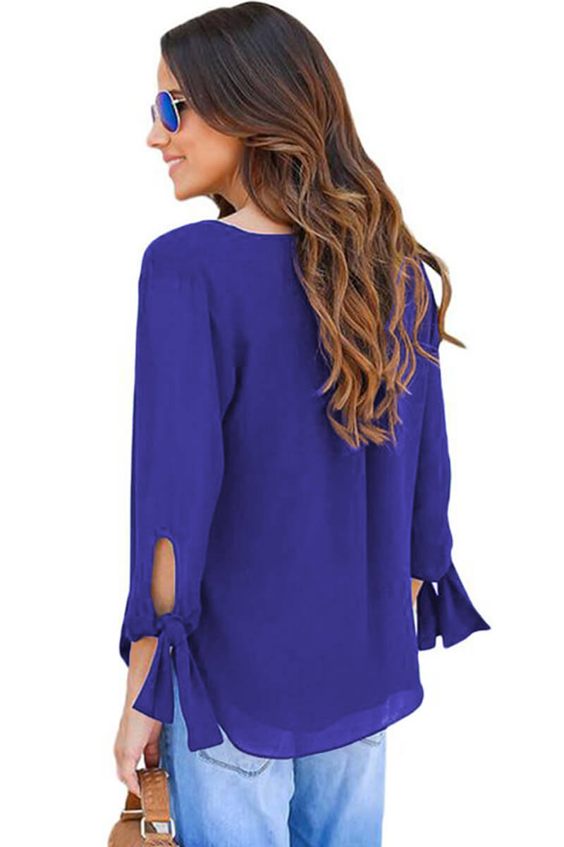 Blue V Neck Ruched Tie Sleeve Top - GHA Discount