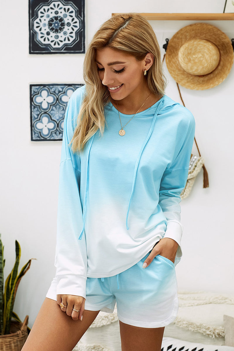 Sky Blue Dip Dye Hooded Lounge Sweatshirt Shorts Set - GHA Discount