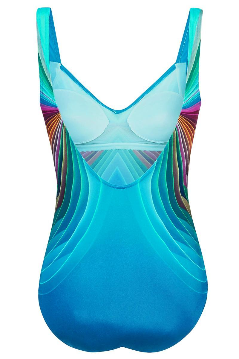Sky Blue 3D Pattern Sport Maillot Swimsuit - GHA Discount