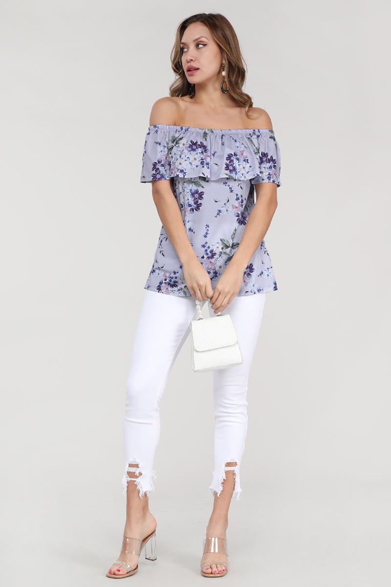 Purple Grow with Me Off The Shoulder Floral Top - GHA Discount