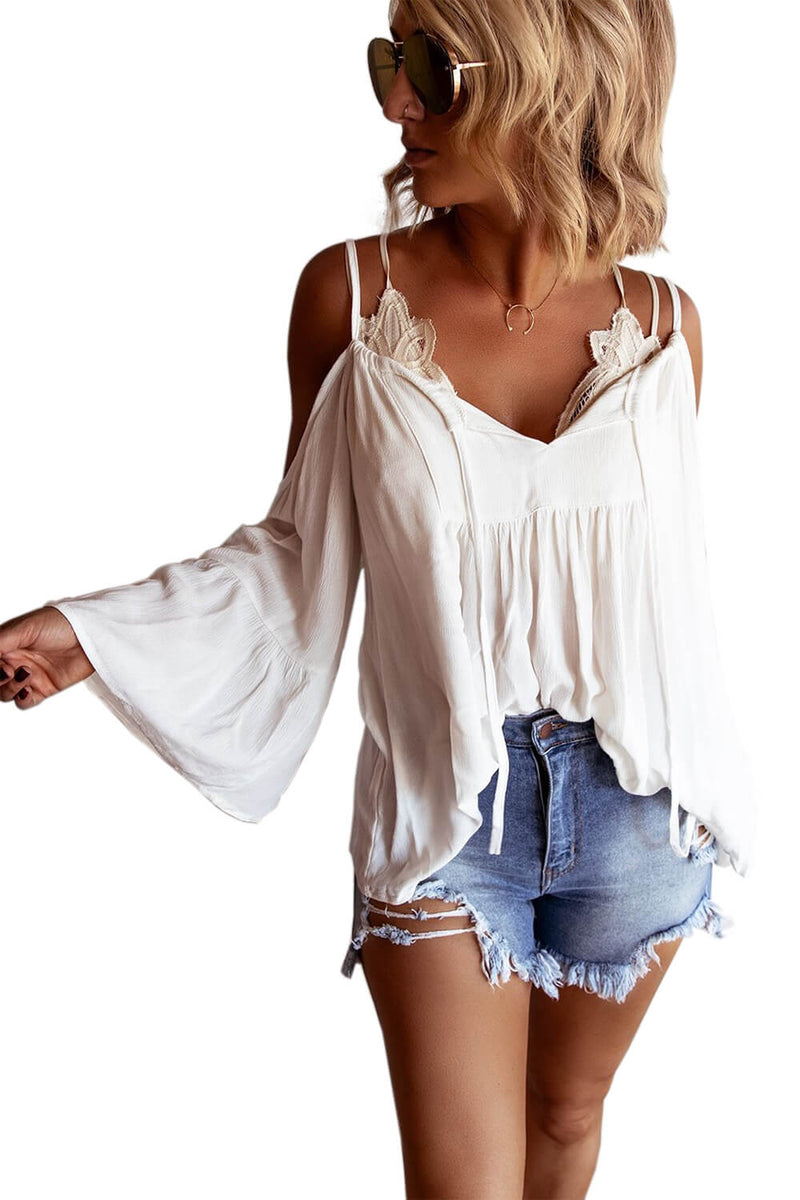 Cold Shoulder Ruffled Blouse - GHA Discount
