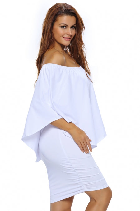 Multiple Dressing Layered White Mini Poncho Dress - GHA Discount