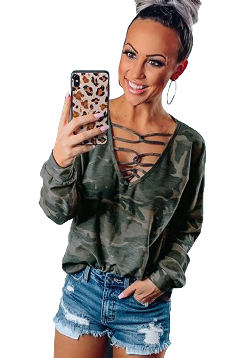 Hollow-out V Neck Camouflage Blouse - GHA Discount