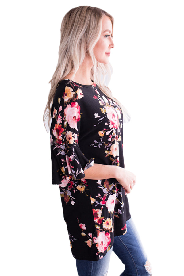 Mid Length Bell Sleeve Black Pink Floral Blouse - GHA Discount