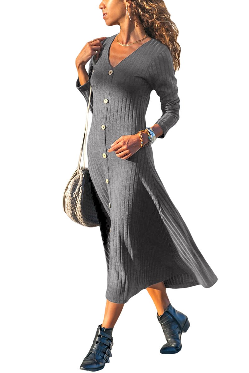 Gray Button Front Long Sleeve Ribbed Midi Dress - GHA Discount