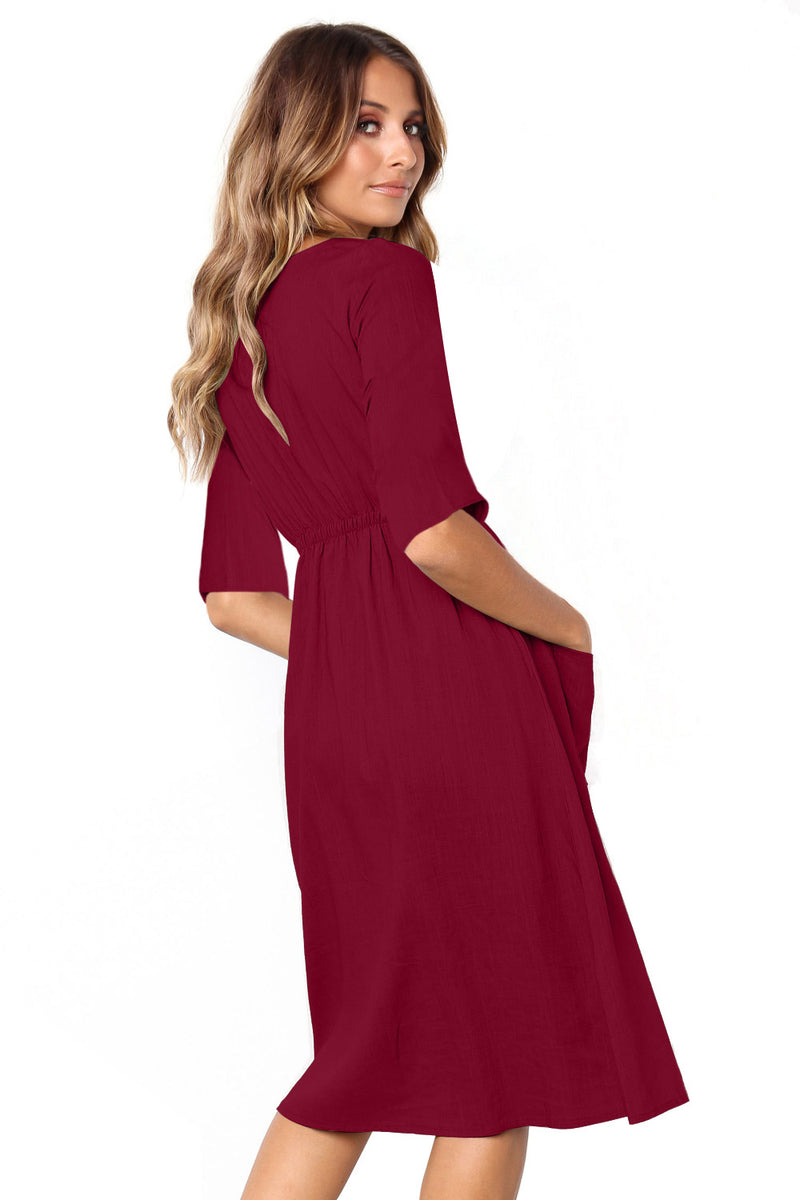 Burgundy Button Front Midi Dress with Pockets - GHA Discount