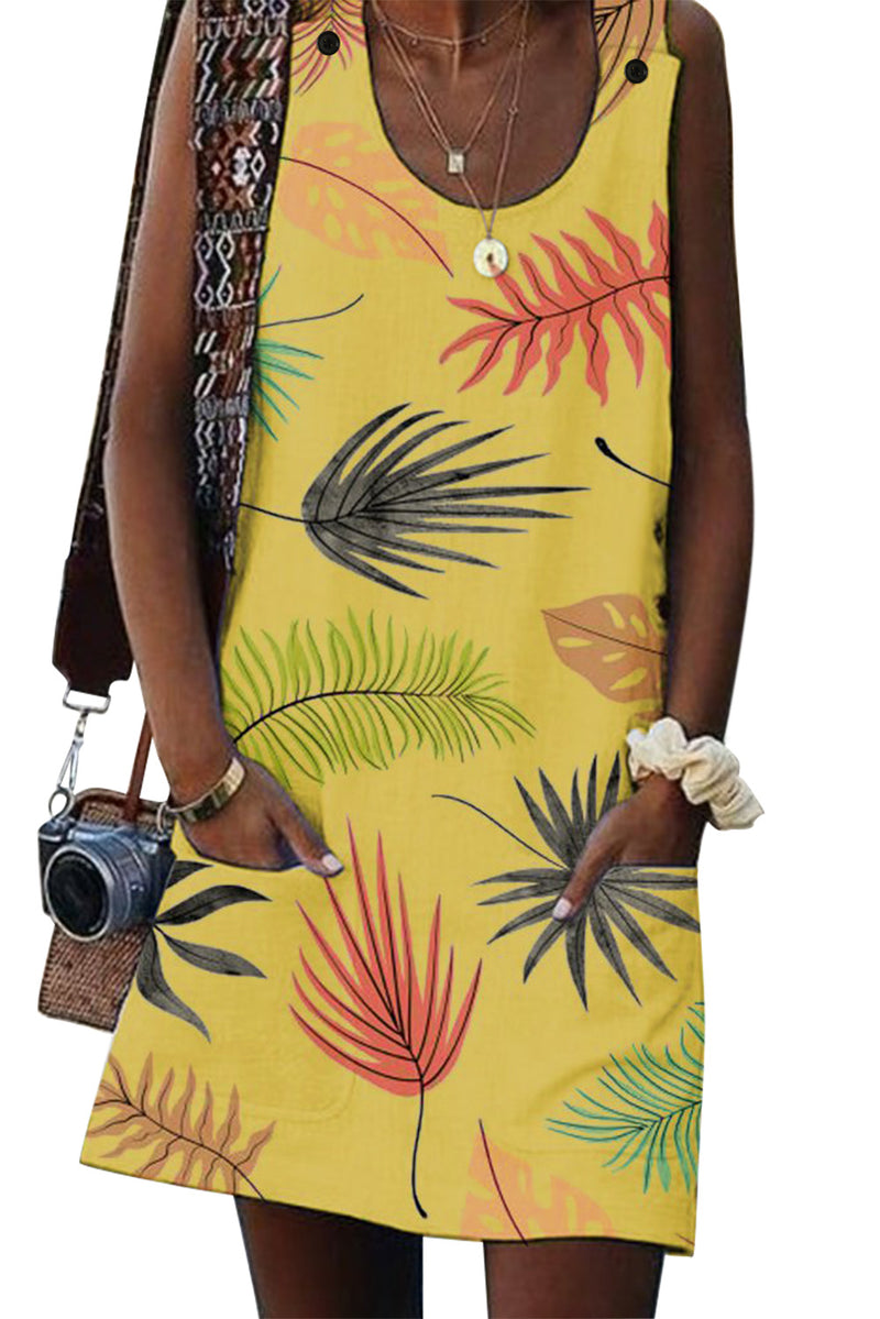 Yellow Bohemian Printed Drawstring Sleeveless Dress - GHA Discount