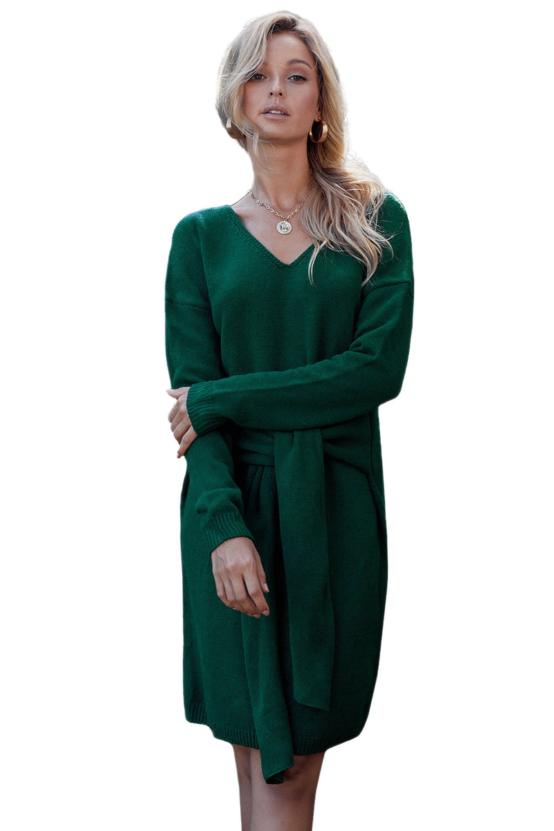 Green Don't Let Me Go Tie Sweater Dress - GHA Discount