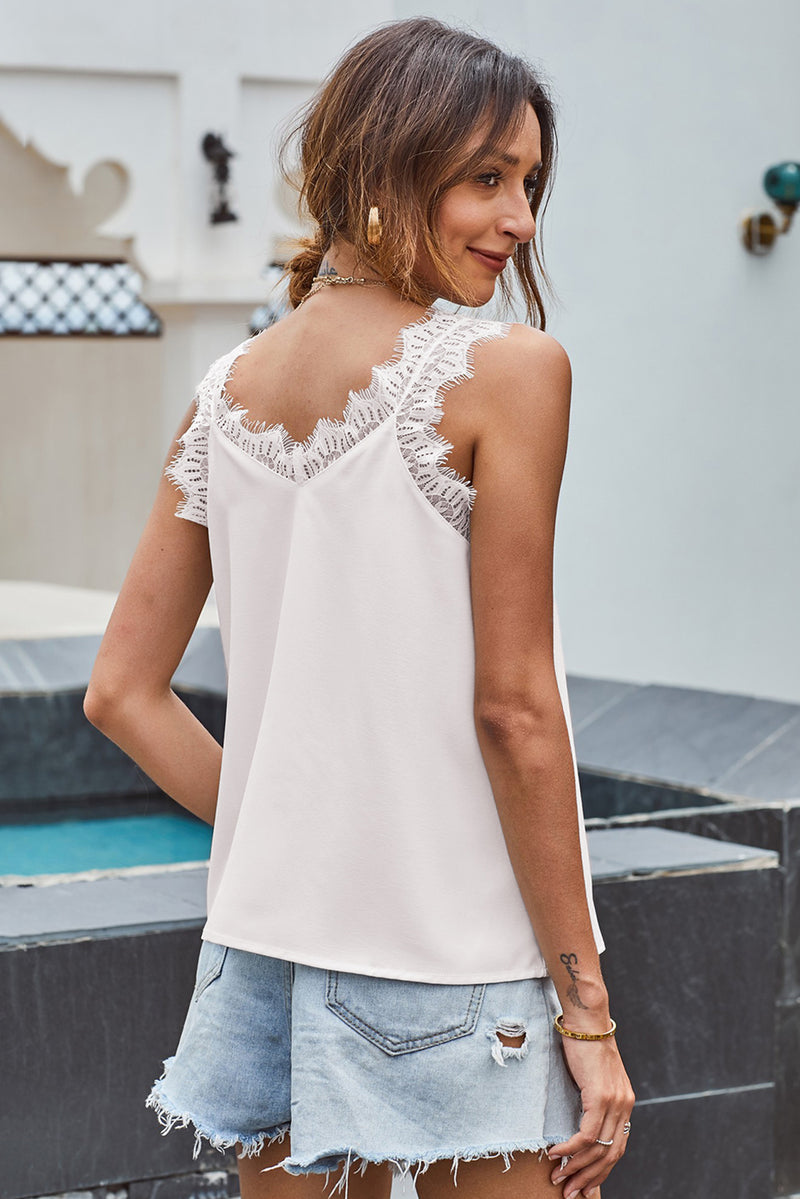 White Facade Lace Cami Tank Top - GHA Discount