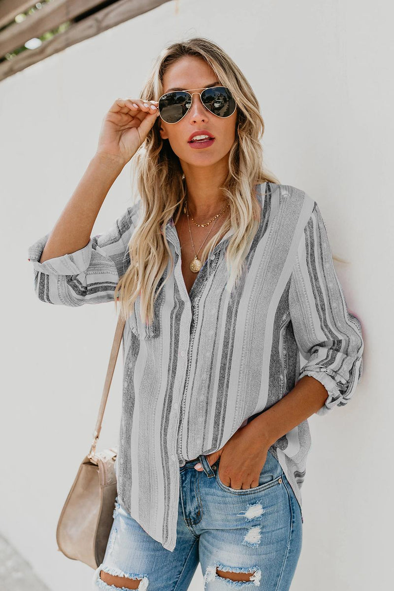 Gray Sweet Enough Striped Button Down Top - GHA Discount