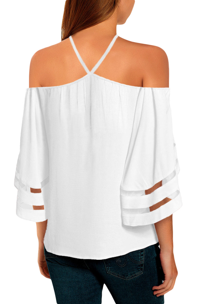 White Spaghetti Halter Off The Shoulder Three Quarter Sleeve Shirt - GHA Discount