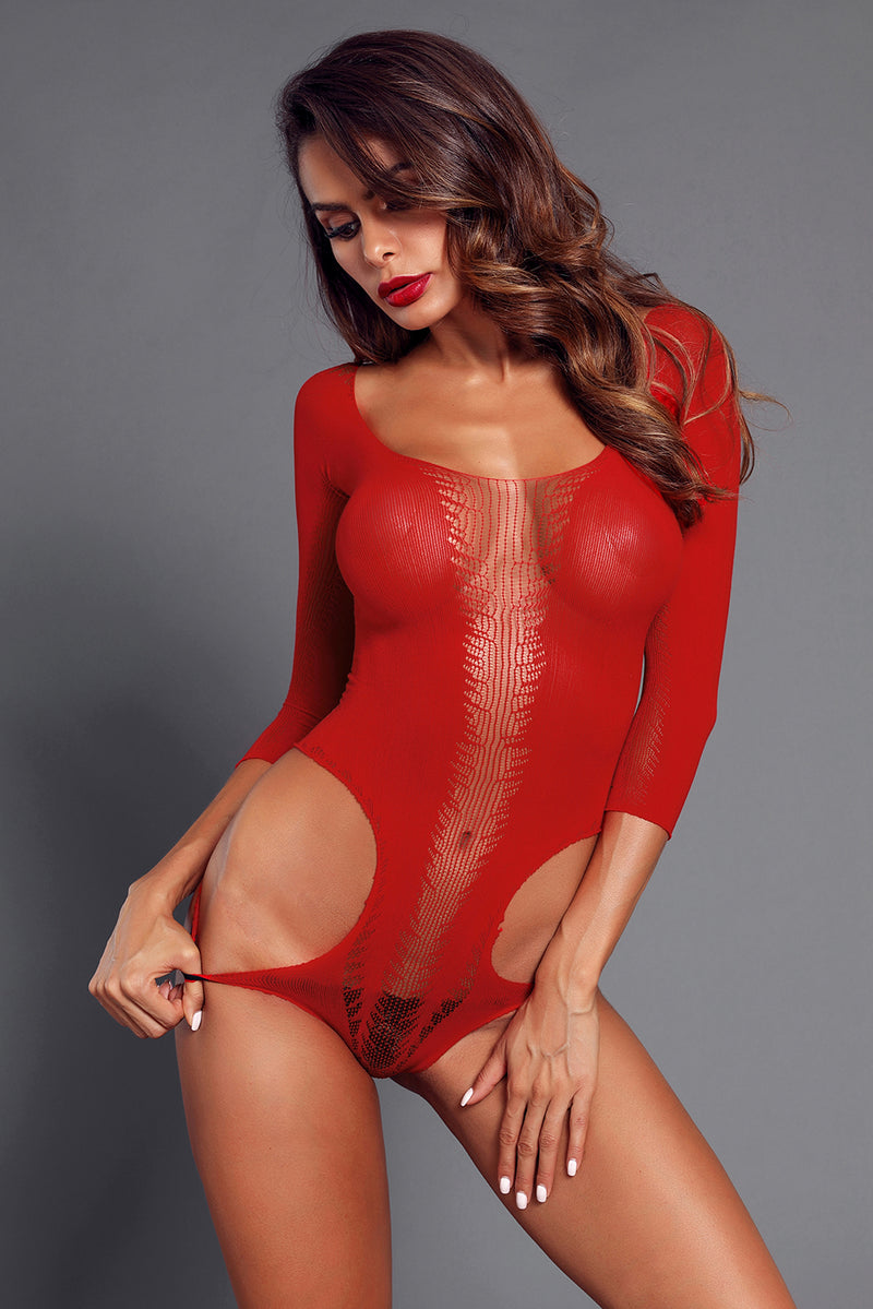 Red Cutout Detail Long Sleeve Off Shoulder Teddy - GHA Discount