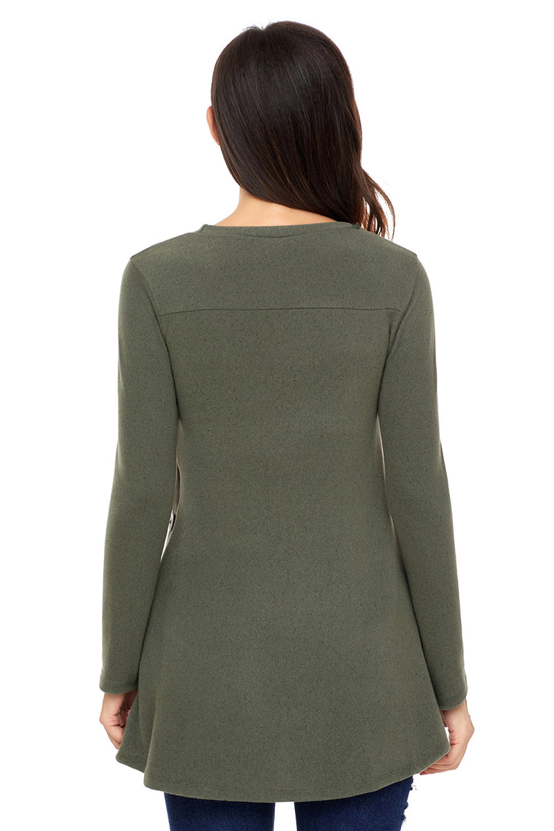 Olive Button Side Long Sleeve Swingy Tunic - GHA Discount