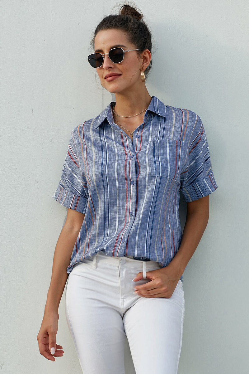 Blue V Neck Stripes Roll up Sleeve Button Down Shirt - GHA Discount