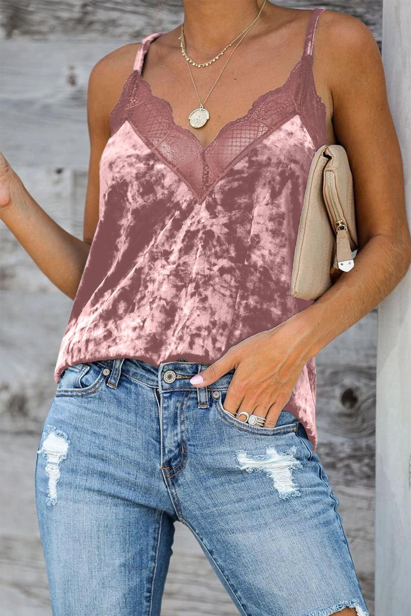 Pink Velvet Lace Cami Tank - GHA Discount