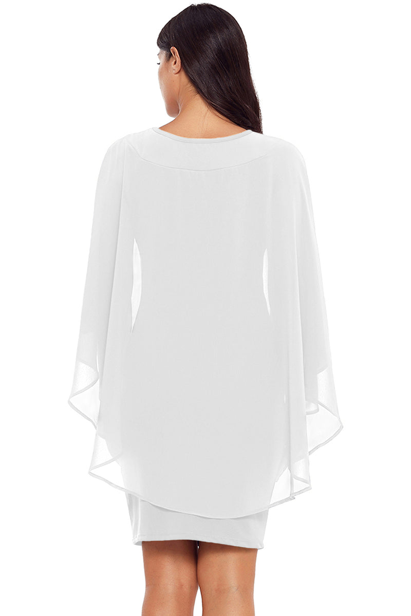White Slinky Sexy Gauze Cape Mini Dress - GHA Discount