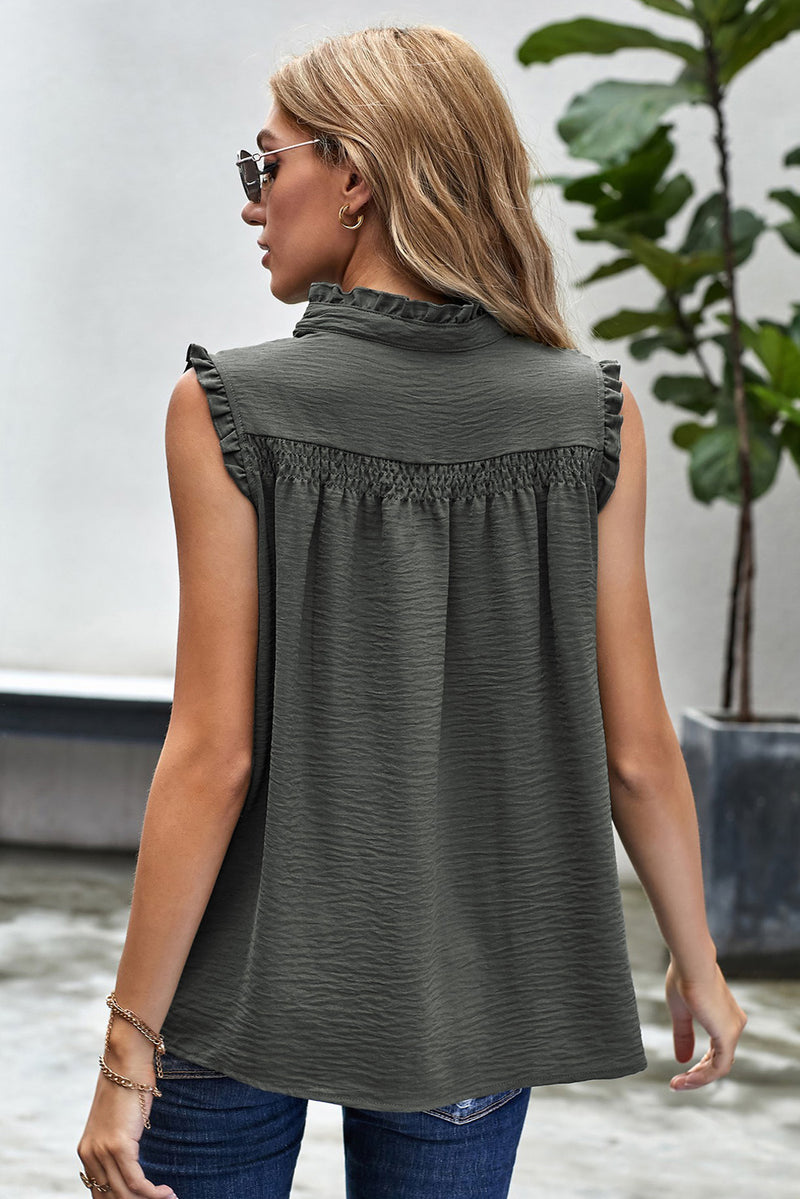 Green Frilled Tank Top with Buttons - GHA Discount