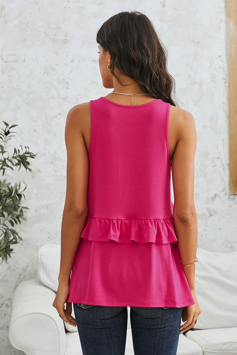 Rose Ruffle Detail Loose Flowy Tank Top - GHA Discount