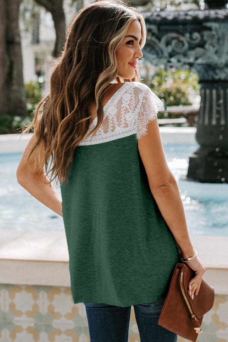 Green Lace Knit Tank - GHA Discount