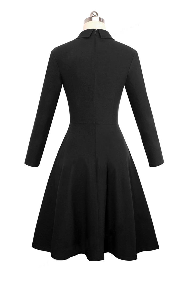 Black Double Breasted Vintage Flared Dress - GHA Discount
