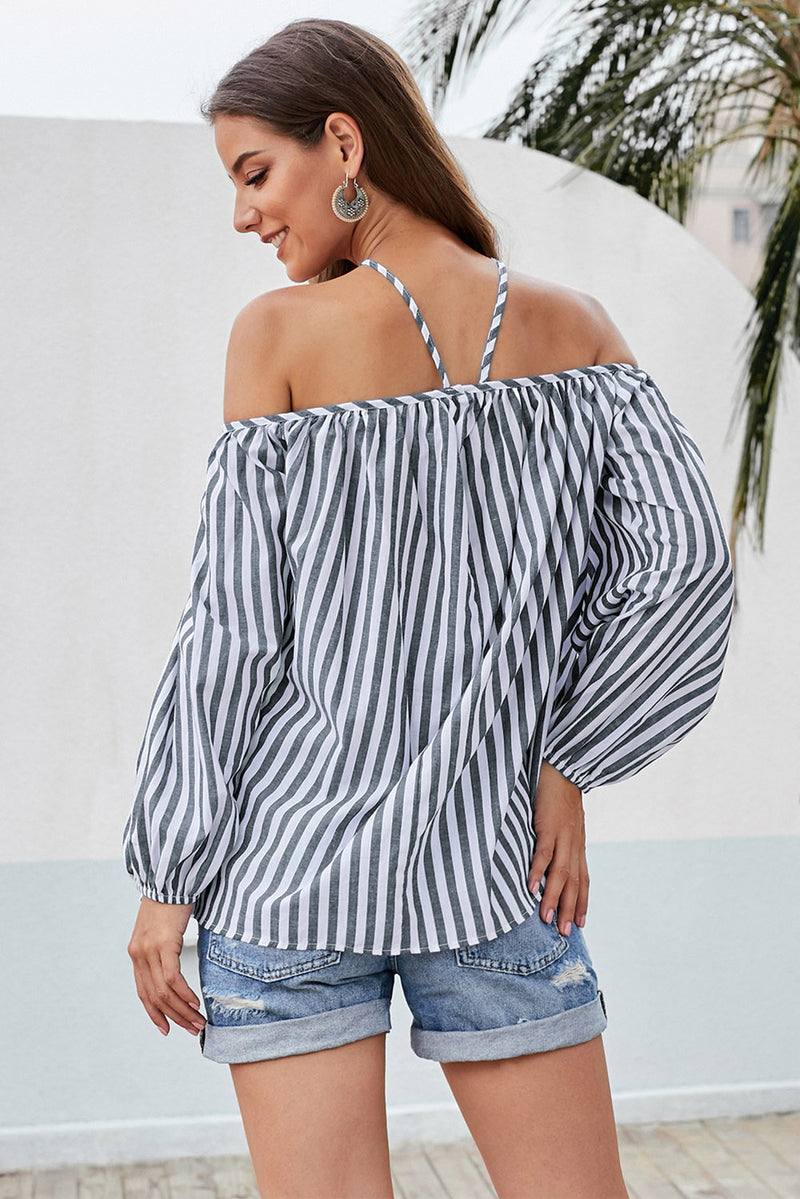 Gray Striped Off Shoulder Halter Blouse - GHA Discount