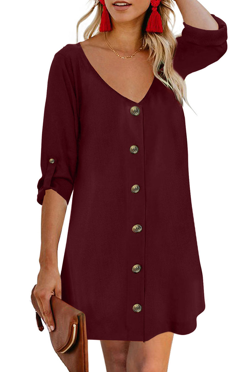 Wine V Neck Button Front Roll up Tab Sleeve Dress - GHA Discount
