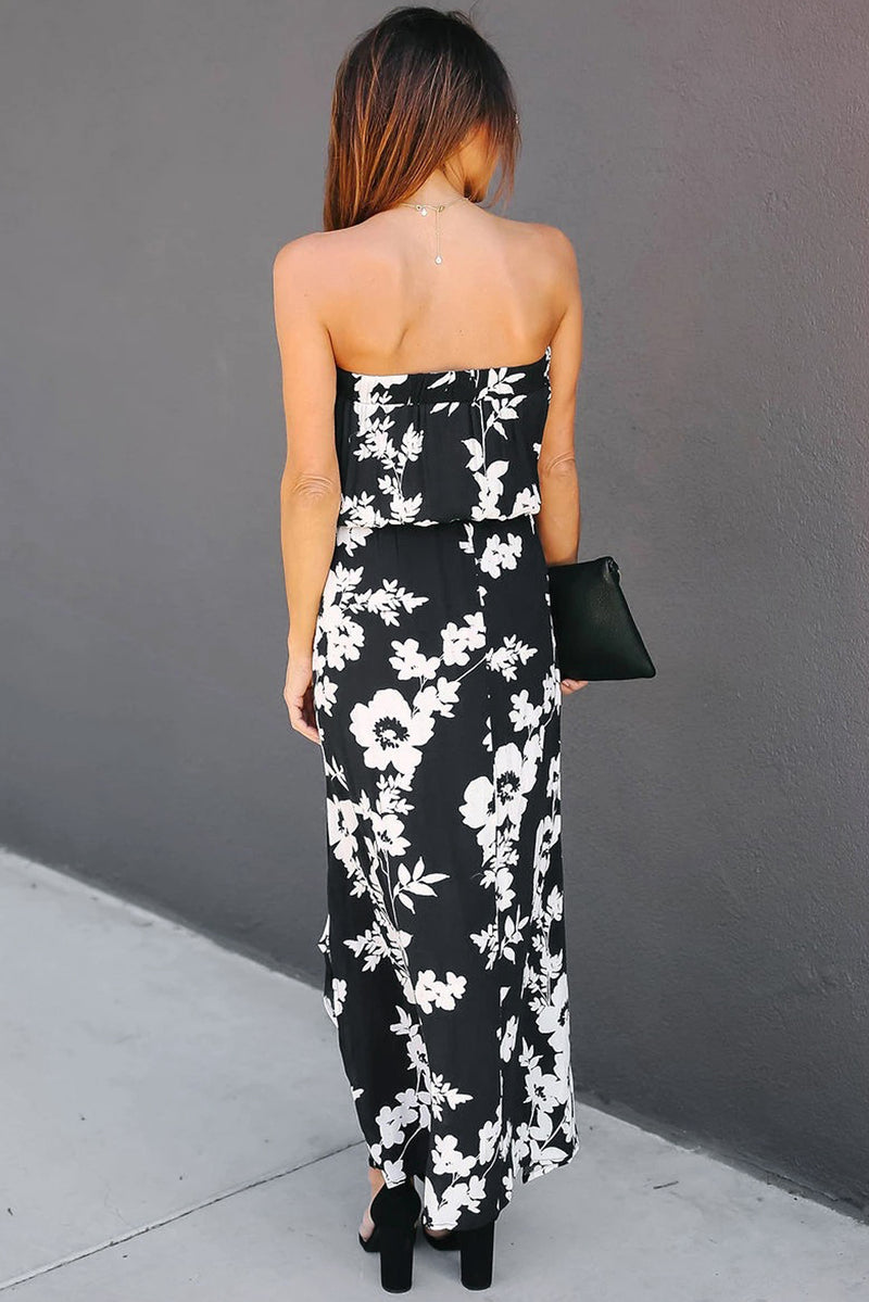 Black Strapless Floral Dress - GHA Discount