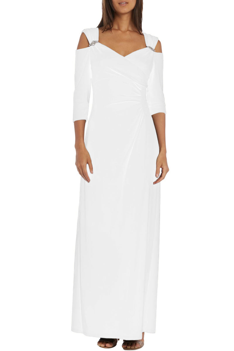 White Cold Shoulder Rhinestone Gown - GHA Discount