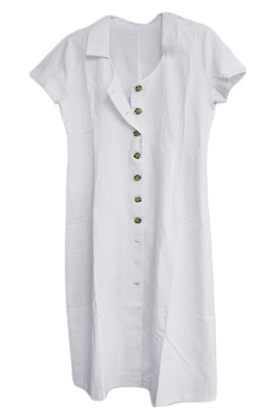 White Summer Buttoned Casual Shirt Maxi Dress - GHA Discount
