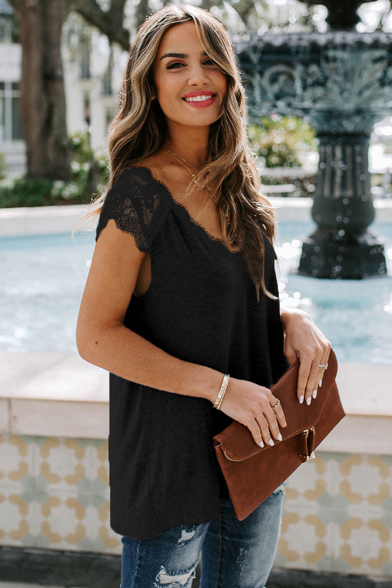 Black Lace Knit Tank - GHA Discount