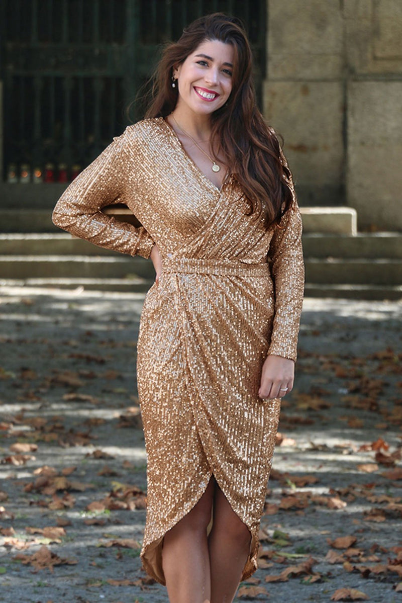 Apricot Sequins Wrapped Ruched Irregular Dress - GHA Discount