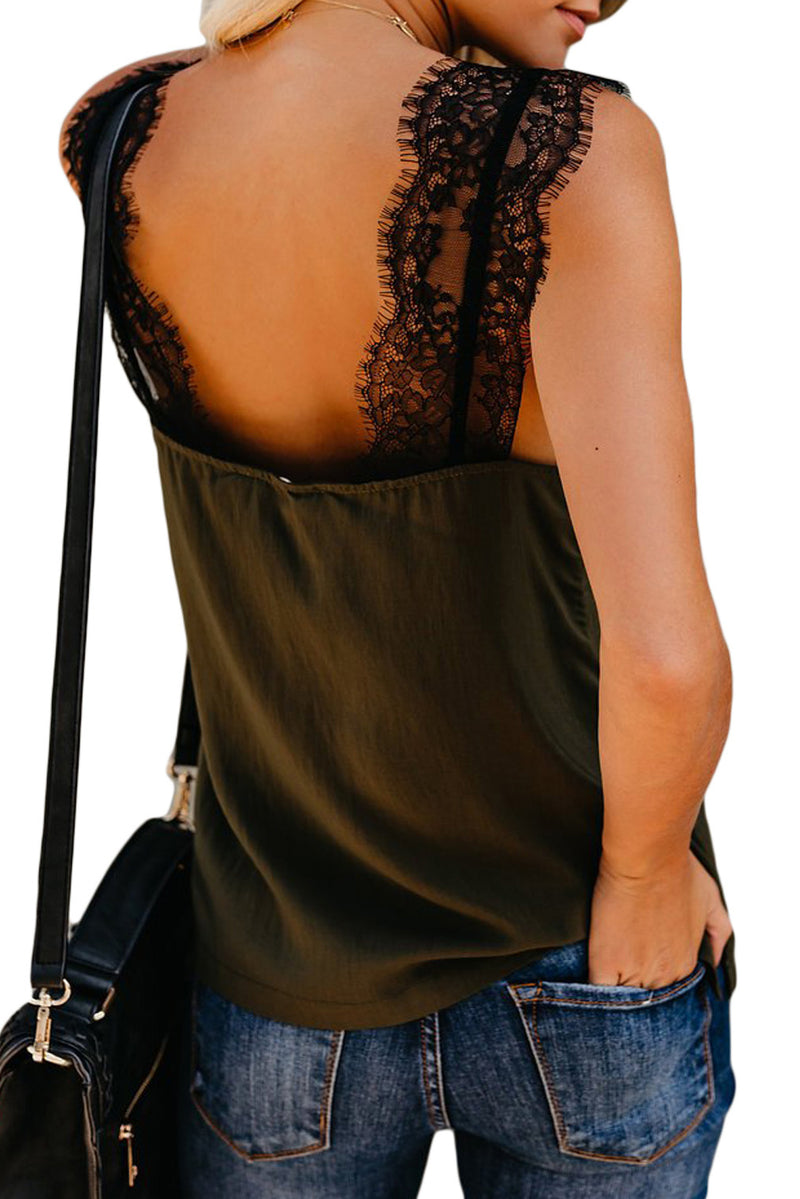 Green V Neck Lace Strappy Cami Tank Top - GHA Discount