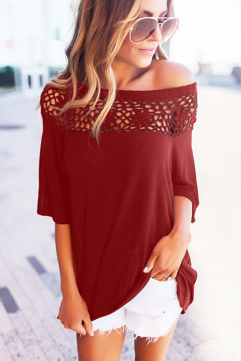 Crochet Neckline Top - GHA Discount