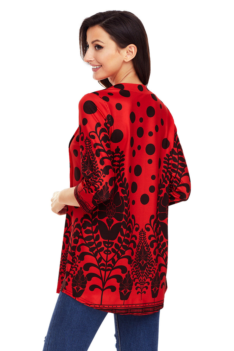 Red Black Floral Print Flowy Blouse - GHA Discount