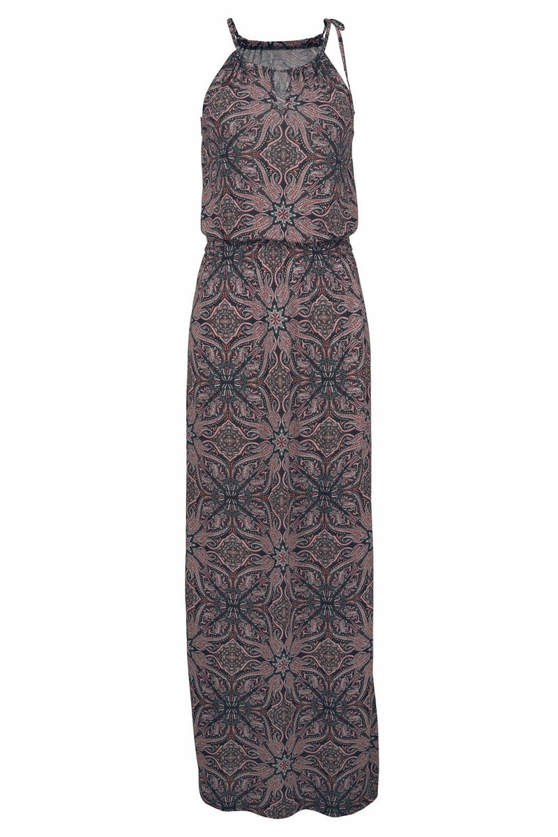 Brown Paisley Pattern Maxi Dress - GHA Discount