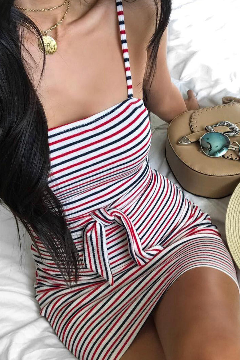 Red Sexy Sling Striped Sleeveless Short Dress - GHA Discount
