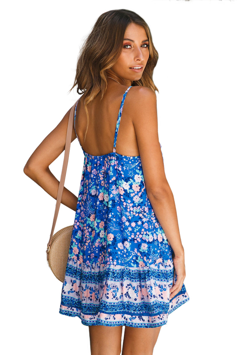 Sky Blue Floral Slip-on Dress - GHA Discount