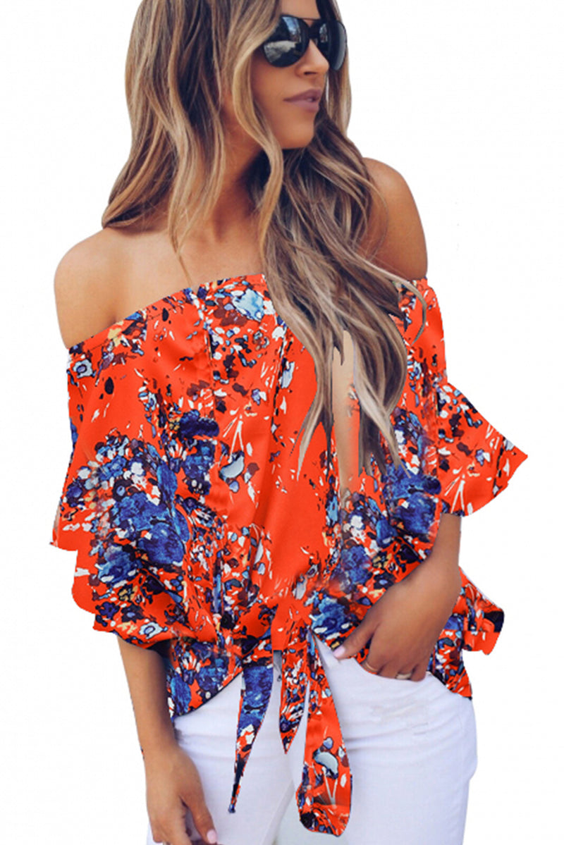 Orange Off Shoulder Floral Tie Front High Low Chiffon Blouse - GHA Discount