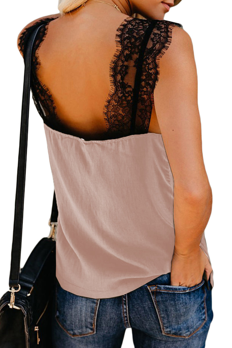 Pink V Neck Lace Strappy Cami Tank Top - GHA Discount