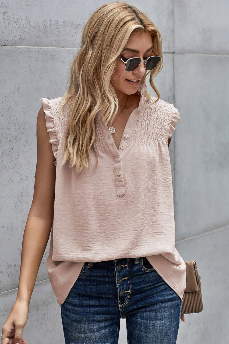 Apricot Frilled Tank Top with Buttons - GHA Discount
