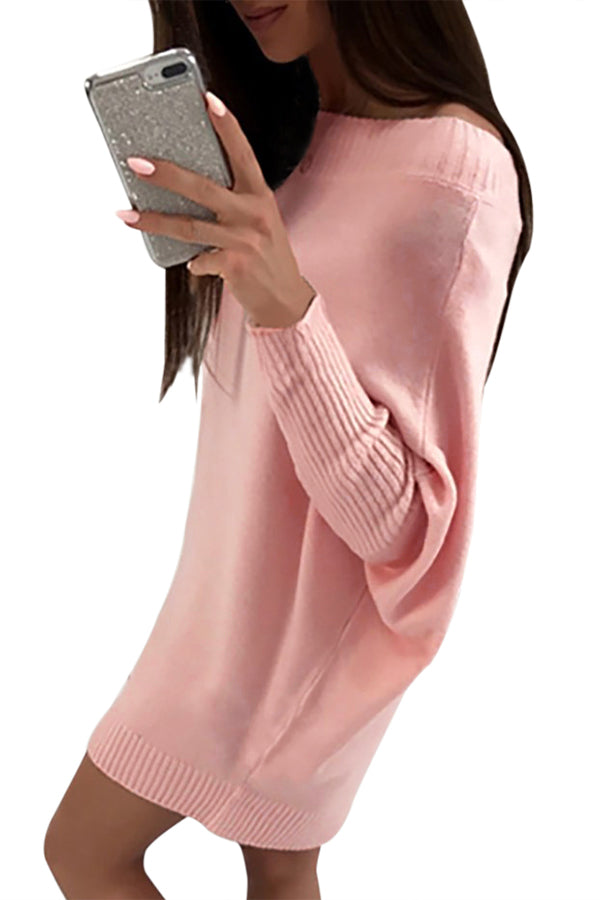Pink Stylish Long Sleeve Baggy Sweater Dress - GHA Discount