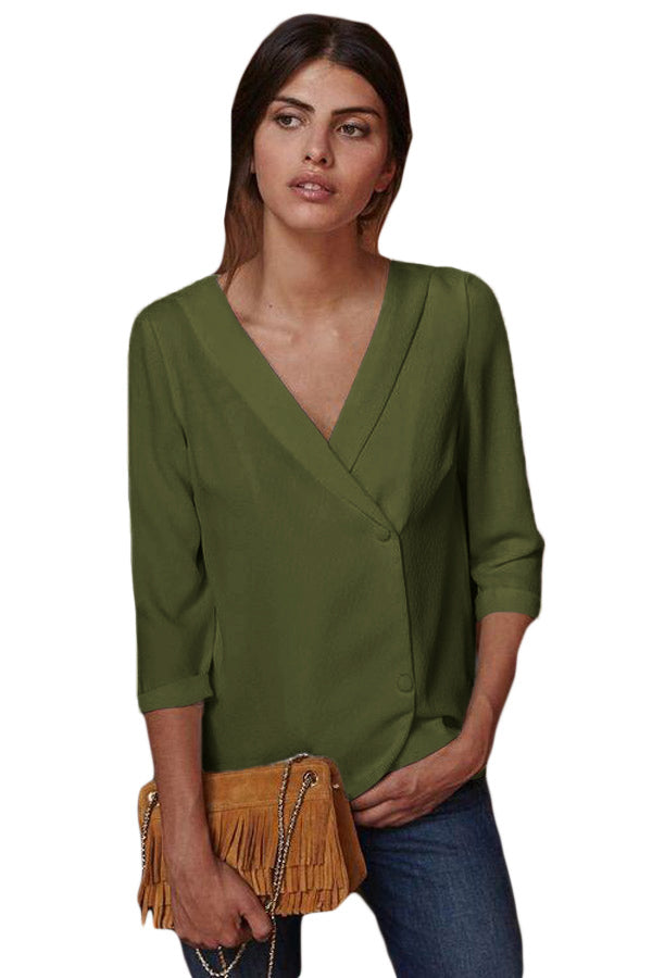 Lapel V Neck Blouse - GHA Discount