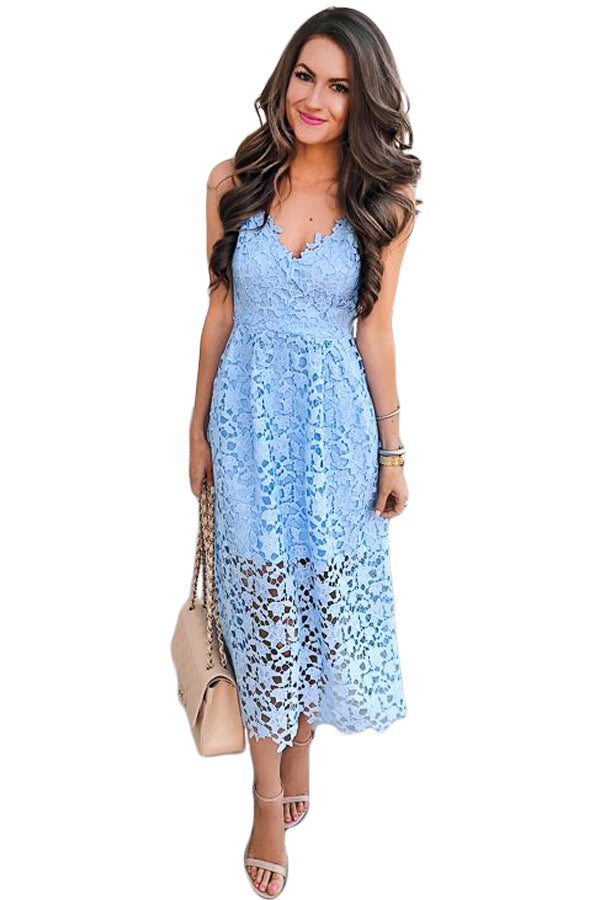Light Blue Spaghetti Strap V-Neck Lace Midi Dress - GHA Discount