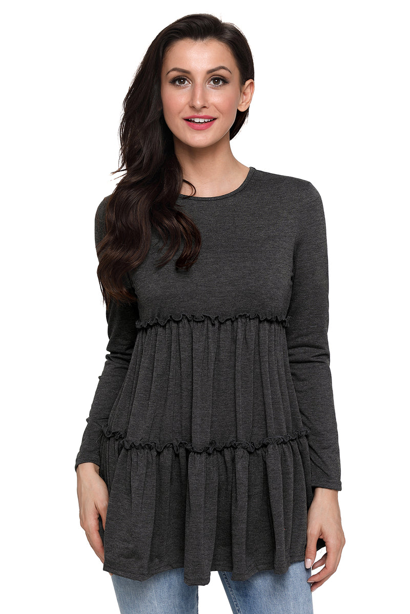 Gray Long Sleeve Layered Babydoll Tunic - GHA Discount