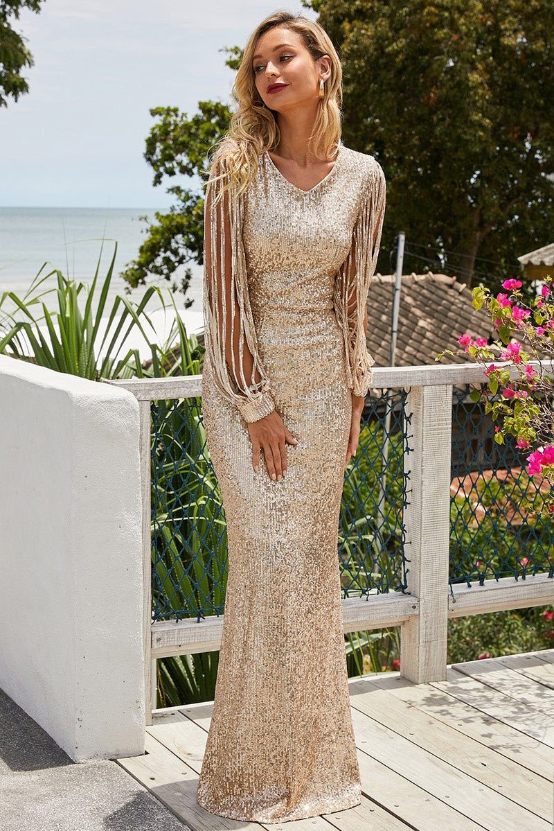 Apricot Sequin Fringe Sleeve Party Maxi Evening Dress - GHA Discount
