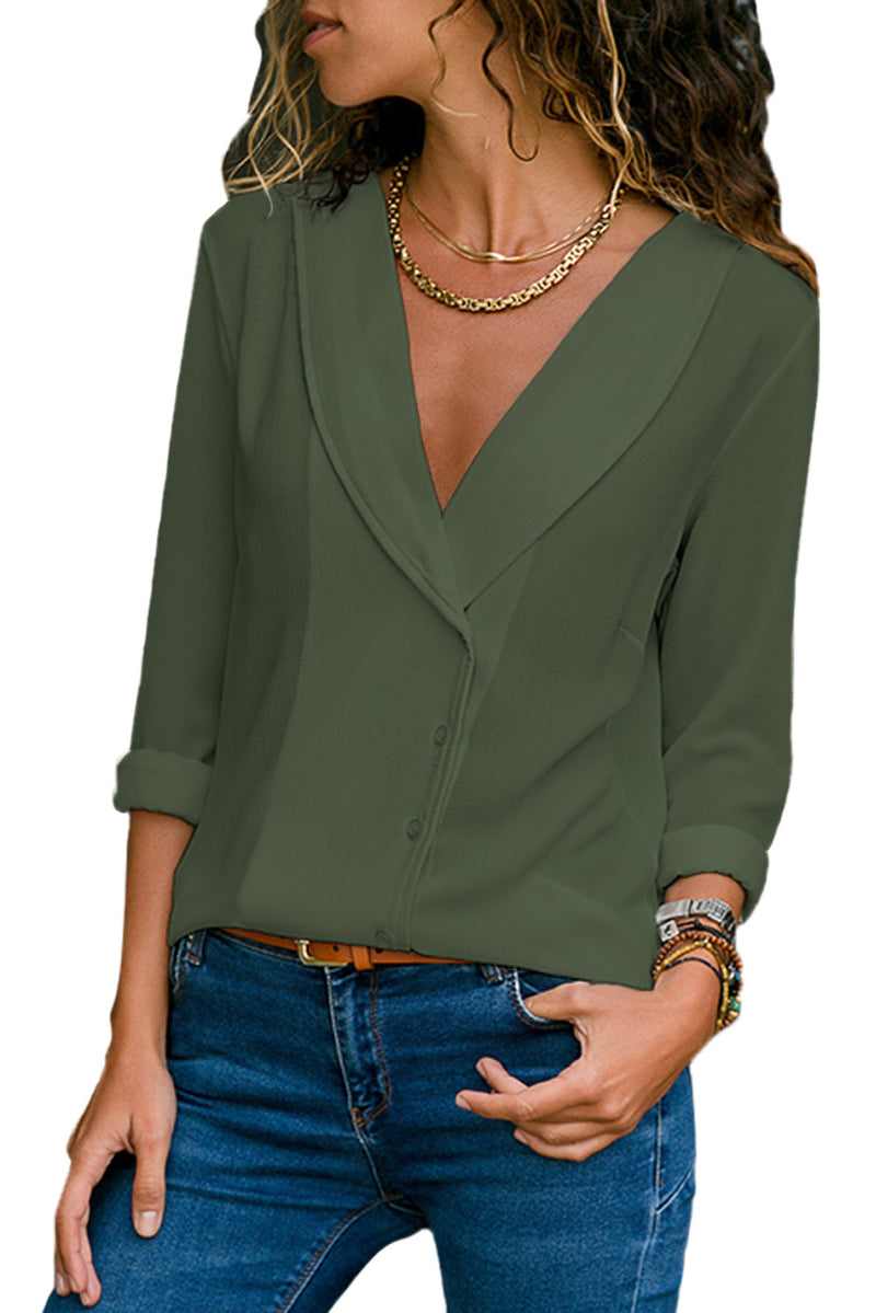 Olive Green Lapel V Neck Button Down Blouse - GHA Discount