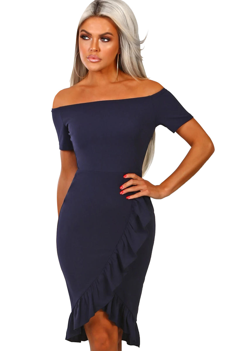 Navy Blue Frill Trim Short Sleeve Off Shoulder Midi Dress - GHA Discount