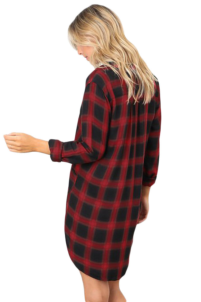 Red Black Plaid Pocket Style Shirt Dress - GHA Discount