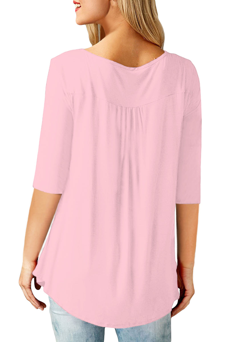 Pink 3/4 Sleeve Button Detail Pleated Tunic - GHA Discount