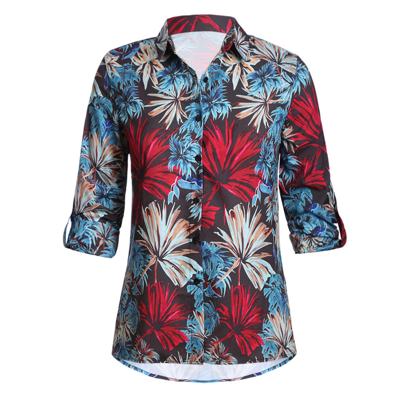 Blue Plant Print Women Shirt - GHA Discount